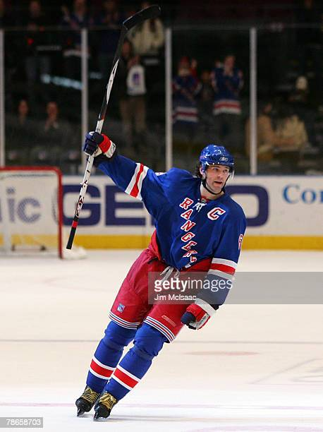 Jaromir Jagr of the New York Rangers is introduced as the star of the game against the Carolina Hurricanes after their game on December 26 2007 at...