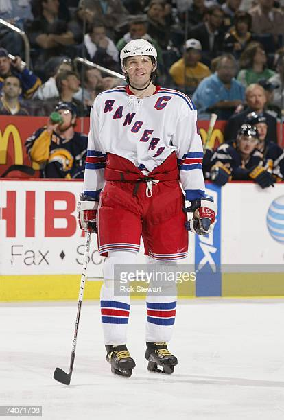 Jaromir Jagr of the New York Rangers looks on against the Buffalo Sabres in Game 1 of the Eastern Conference Semifinals during the 2007 NHL Stanley...