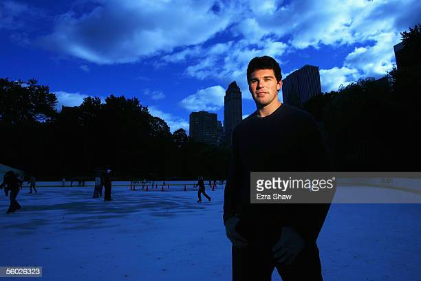 Jaromir Jagr of the New York Rangers poses for a portrait at Wollman Ice Skating Rink on October 26 2005 in Central Park in New York City