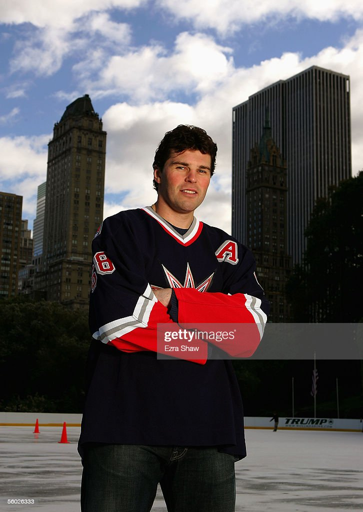 Jaromir Jagr of the New York Rangers poses for a portrait at Wollman Ice Skating Rink on October 26, 2005 in Central Park in New York City.
