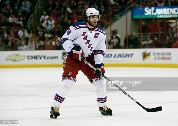 Jaromir Jagr of the New York Rangers skates against the Carolina Hurricanes during their NHL game at RBC Center on January 29 2008 in Raleigh North...