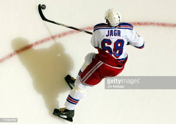 Jaromir Jagr of the New York Rangers skates against the New York Islanders during their game on October 10, 2007 at Nassau Coliseum in Uniondale, New...