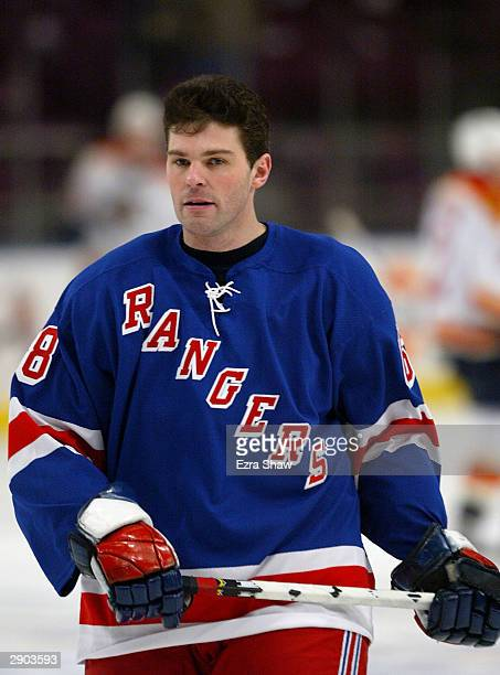 Jaromir Jagr of the New York Rangers warms up before his first home game as a Ranger before their game against the Florida Panthers on January 26...