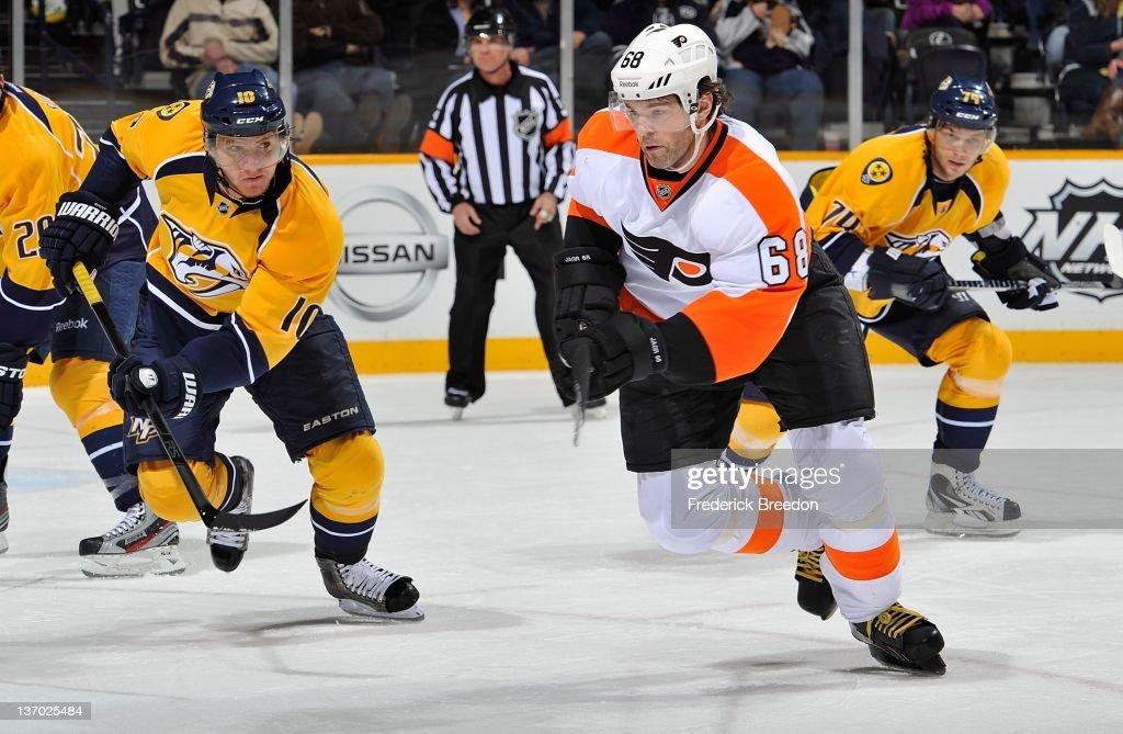 Jaromir Jagr #68 of the Philadelphia Flyers skates against Martin Erat #10 of the Nashville Predators at Bridgestone Arena on January 14, 2012 in Nashville, Tennessee.