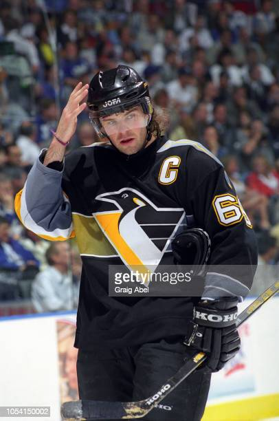 Jaromir Jagr of the Pittsburgh Penguins skates against the Toronto Maple Leafs during the 1999 Quarter Finals of the NHL playoff game action at Air...