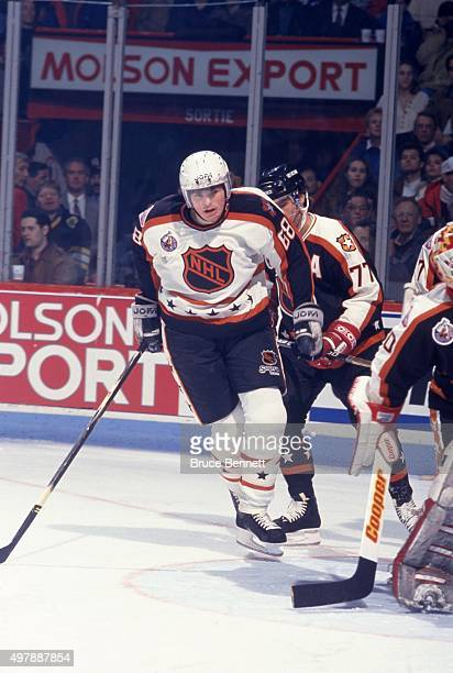 Jaromir Jagr of the Wales Conference and the Pittsburgh Penguins skates on the ice during the 1993 44th NHL AllStar Game against the Campbell...