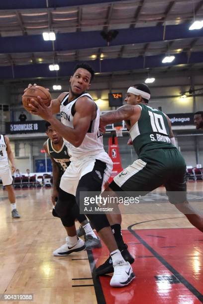 Jaron Blossomgame of the Austin Spurs handles the ball against the Wisconsin Herd during the GLeague Showcase on January 12 2018 at the Hershey...