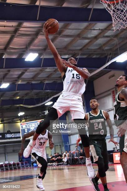 Jaron Blossomgame of the Austin Spurs shoots the ball against the Wisconsin Herd during the GLeague Showcase on January 12 2018 at the Hershey Centre...