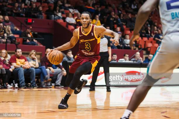 Jaron Blossomgame of the Canton Charge drives to the basket against the Greensboro Swarm on December 15 2018 at the Canton Memorial Civic Center in...