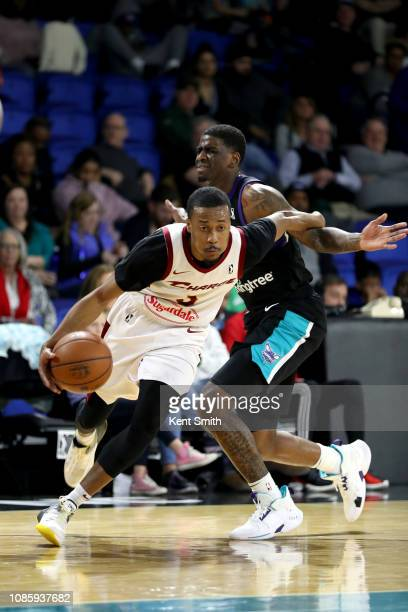 Jaron Blossomgame of the Canton Charge handles the ball against the Greensboro Swarm on January 21 2019 at Greensboro Coliseum Fieldhouse in...