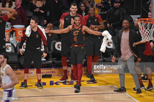 Jaron Blossomgame of the Cleveland Cavaliers reacts against the Los Angeles Lakers on January 13 2019 at STAPLES Center in Los Angeles California...