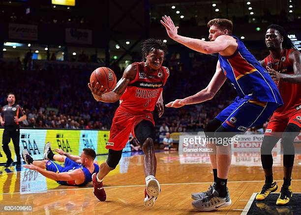 Jaron Johnson of the Wildcats drives to the basket during the round 12 NBL match between the Adelaide 36ers and the Perth Wildcats at Titanium...