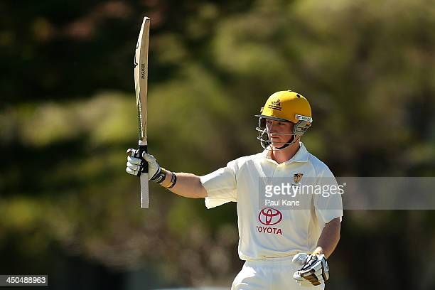Jaron Morgan of Western Australia celebrates his half century during day two of the Futures League match between Western Australia and Tasmania at...