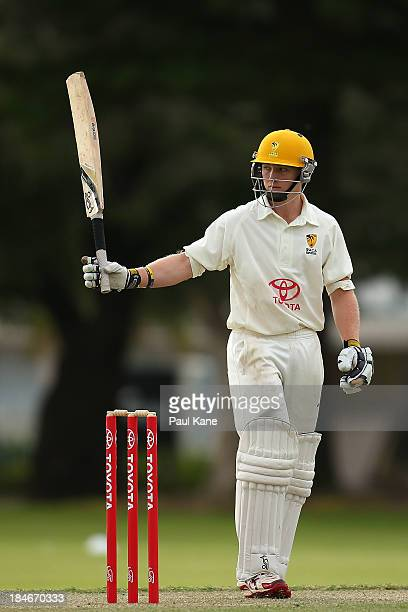 Jaron Morgan of Western Australia celebrates scoring his half century during day two of the Futures League match between Western Australia and New...