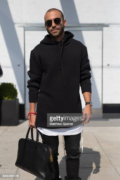 Jaron Ross is seen attending Public School during New York Fashion Week wearing Helmut Lang Acronym x Nike on September 10 2017 in New York City