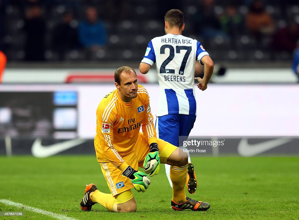 Jaroslav Drobny, goalkeeper of Hamburg looks dejected during the Bundesliga match between Hertha BSC and Hamburger SV at Olympiastadion on October 25, 2014 in Berlin, Germany.