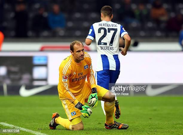 Jaroslav Drobny goalkeeper of Hamburg looks dejected during the Bundesliga match between Hertha BSC and Hamburger SV at Olympiastadion on October 25...