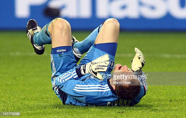 Jaroslav Drobny, goalkeeper of Hamburg reacts during the Bundesliga match between VfL Wolfsburg and Hamburger SV at the Volkswagen Arena on March 23,...