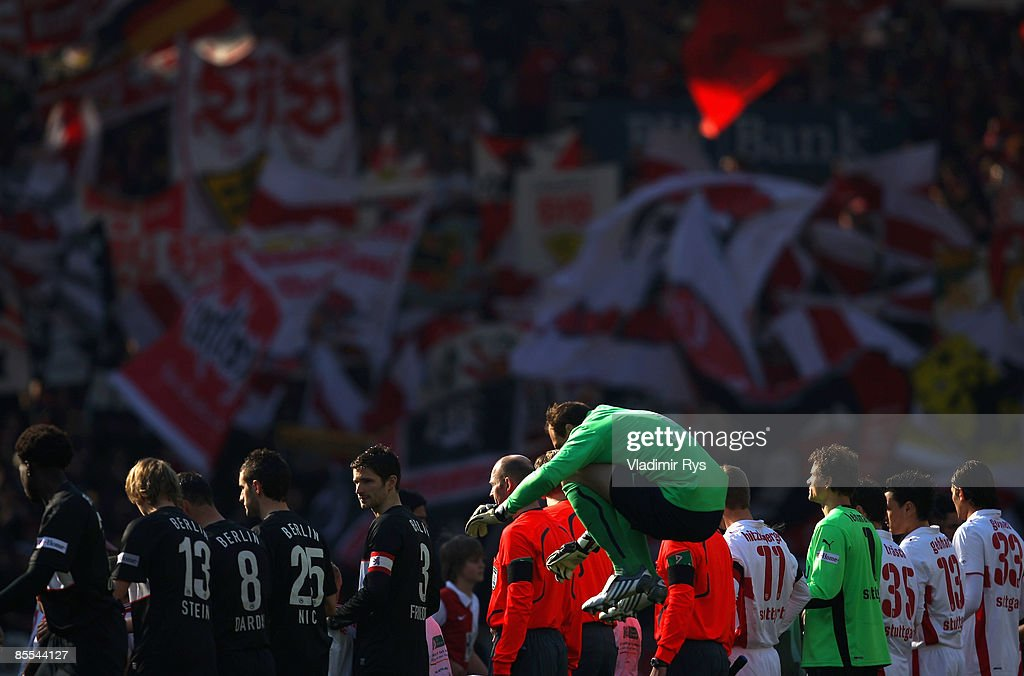Jaroslav Drobny of Berlin jumps on as the teams line up prior to the Bundesliga match between VfB Stuttgart and Hertha BSC Berlin at the Mercedes-Benz Arena on March 21, 2009 in Stuttgart, Germany.