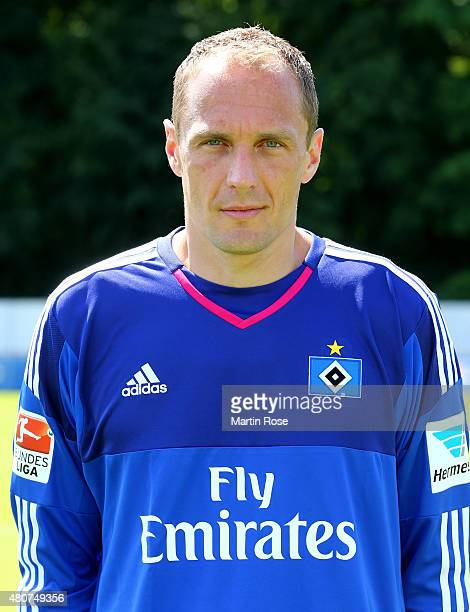 Jaroslav Drobny of Hamburger SV poses during the team presentation of Hamburger SV at Volksparkstadion on July 15 2015 in Hamburg Germany