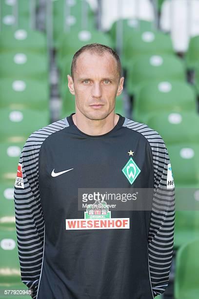 Jaroslav Drobny poses during the offical team presentation of Werder Bremen on July 20 2016 in Bremen Germany