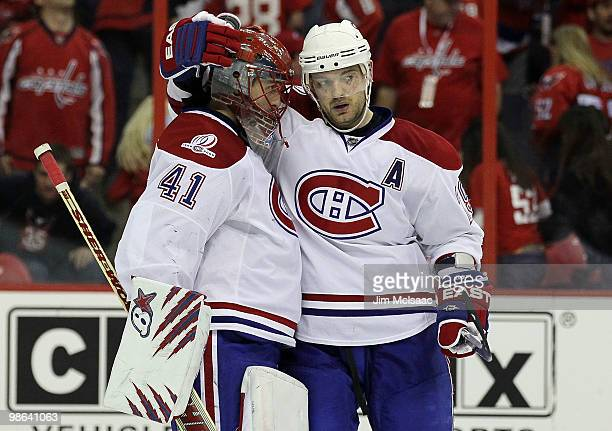 Jaroslav Halak Andrei Markov of the Montreal Canadiens celebrate after defeating the Washington Capitals in Game Five of the Eastern Conference...