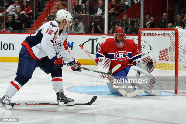 Jaroslav Halak of Montreal Canadiens makes the save on a shot from Nicklas Backstrom of the Washington Capitals in Game Six of the Eastern Conference...