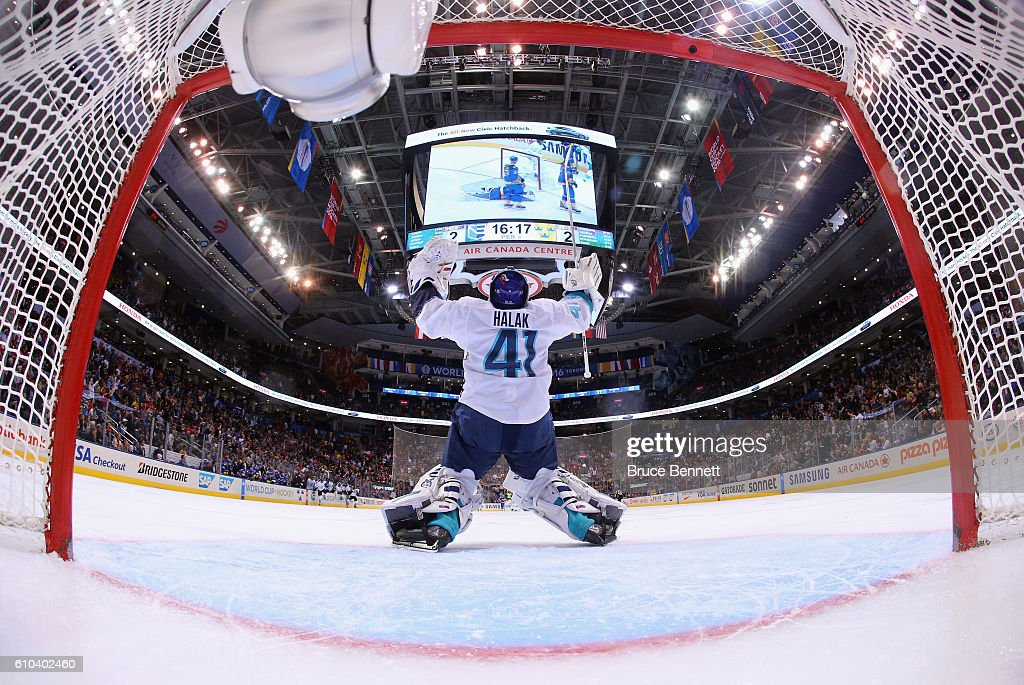 Jaroslav Halak #41 of Team Europe celebrates a 3-2 overtime victory over Team Sweden at the semifinal game during the World Cup of Hockey tournament at the Air Canada Centre on September 25, 2016 in Toronto, Canada.