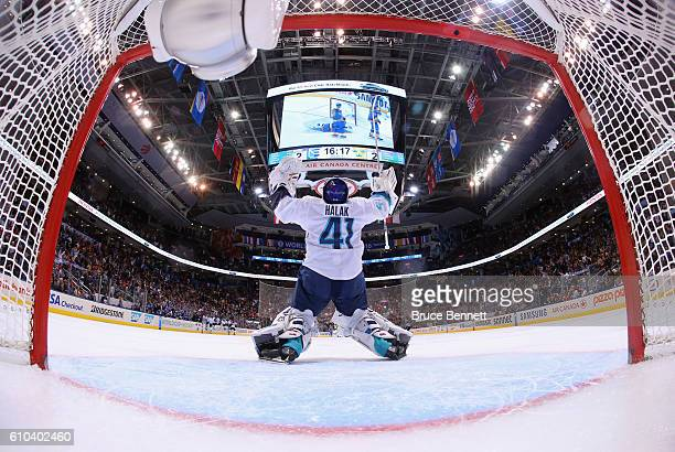 Jaroslav Halak of Team Europe celebrates a 32 overtime victory over Team Sweden at the semifinal game during the World Cup of Hockey tournament at...
