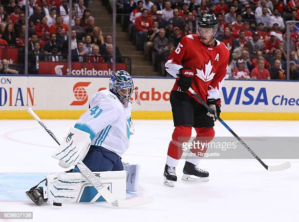 Jaroslav Halak of Team Europe makes a pad save with Jonathan Toews of Team Canada in front during the World Cup of Hockey 2016 at Air Canada Centre...