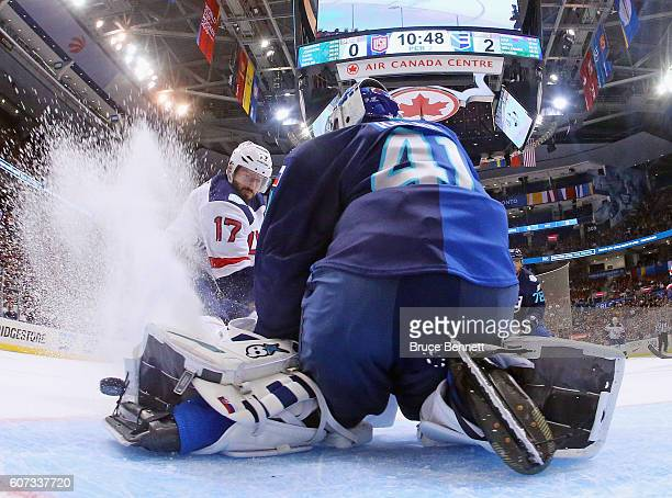 Jaroslav Halak of Team Europe makes the kick save on Ryan Kesler of Team USA during the second period during the World Cup of Hockey tournament at...