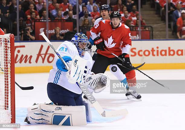 Jaroslav Halak of Team Europe reaches to make a save against Team Canada during the World Cup of Hockey 2016 at Air Canada Centre on September 21...