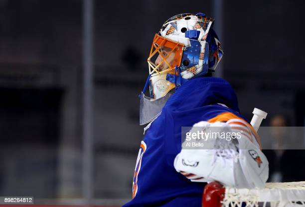 Jaroslav Halak of the against the New York Islanders looks on after giving up his second goal in the first period against the Anaheim Ducks during...