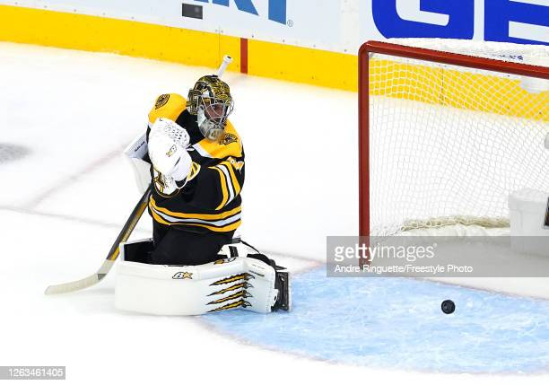 Jaroslav Halak of the Boston Bruins is unable to stop a shot by Scott Laughton of the Philadelphia Flyers in the third period during Game One of the...