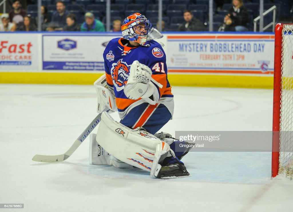 Jaroslav Halak #41 of the Bridgeport Sound Tigers looks behind him for the puck during a game against the Hershey Bears at the Webster Bank Arena on February 19, 2017 in Bridgeport, Connecticut.