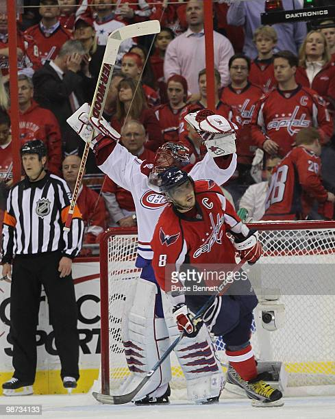 Jaroslav Halak of the Montreal Canadiens celebrates as Alex Ovechkin of the Washington Capitals skates away following the Canadiens 21 win in Game...