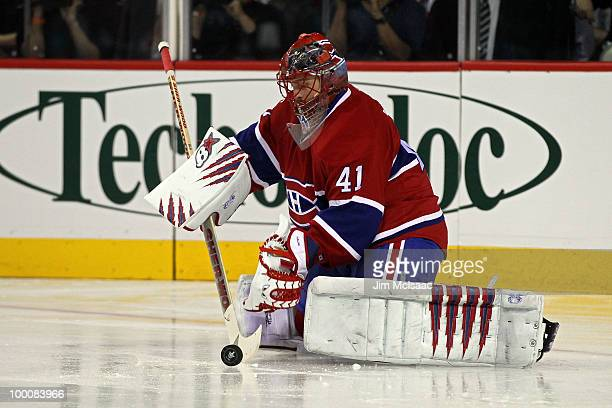 Jaroslav Halak of the Montreal Canadiens makes a save against the Philadelphia Flyers in Game 3 of the Eastern Conference Finals during the 2010 NHL...