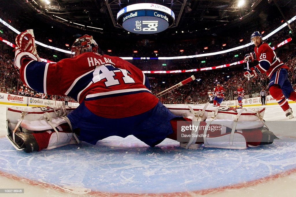 Jaroslav Halak #41 of the Montreal Canadiens makes a save against the Philadelphia Flyers in Game 3 of the Eastern Conference Finals during the 2010 NHL Stanley Cup Playoffs at Bell Centre on May 20, 2010 in Montreal, Canada.