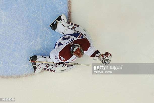 Jaroslav Halak of the Montreal Canadiens makes a save against the Washington Capitals during Game Seven of the Eastern Conference Quarterfinals of...