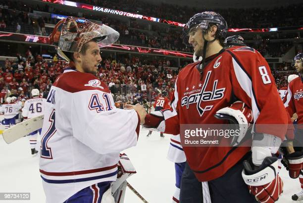 Jaroslav Halak of the Montreal Canadiens shakes hands with Alex Ovechkin of the Washington Capitals following the Canadiens 21 win in Game Seven of...