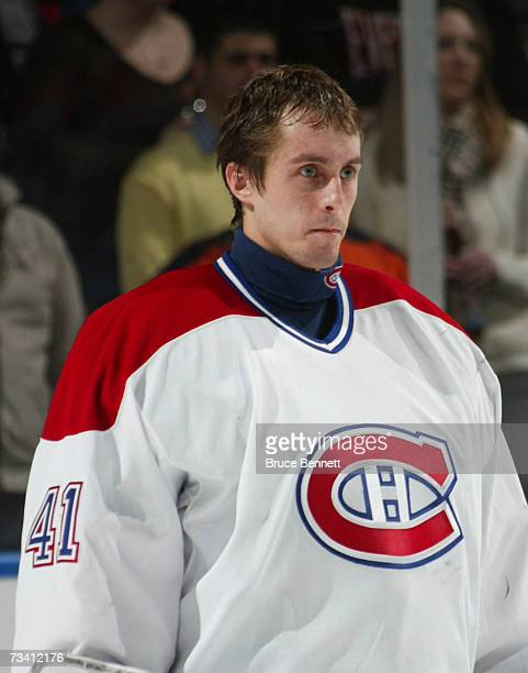 Jaroslav Halak of the Montreal Canadiens stands at attention during the game against the New York Islanders on February 24, 2007 at the Nassau...