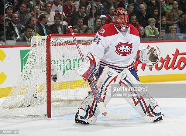 Jaroslav Halak of the Montreal Canadiens stands in his crease and guards his net against the Florida Panthers at the Bell Centre on October 20 2008...