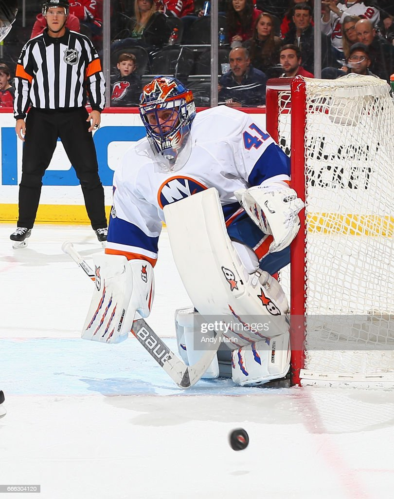 Jaroslav Halak #41 of the New York Islanders eyes the puck after making a save against the New Jersey Devils during the game at Prudential Center on April 8, 2017 in Newark, New Jersey.