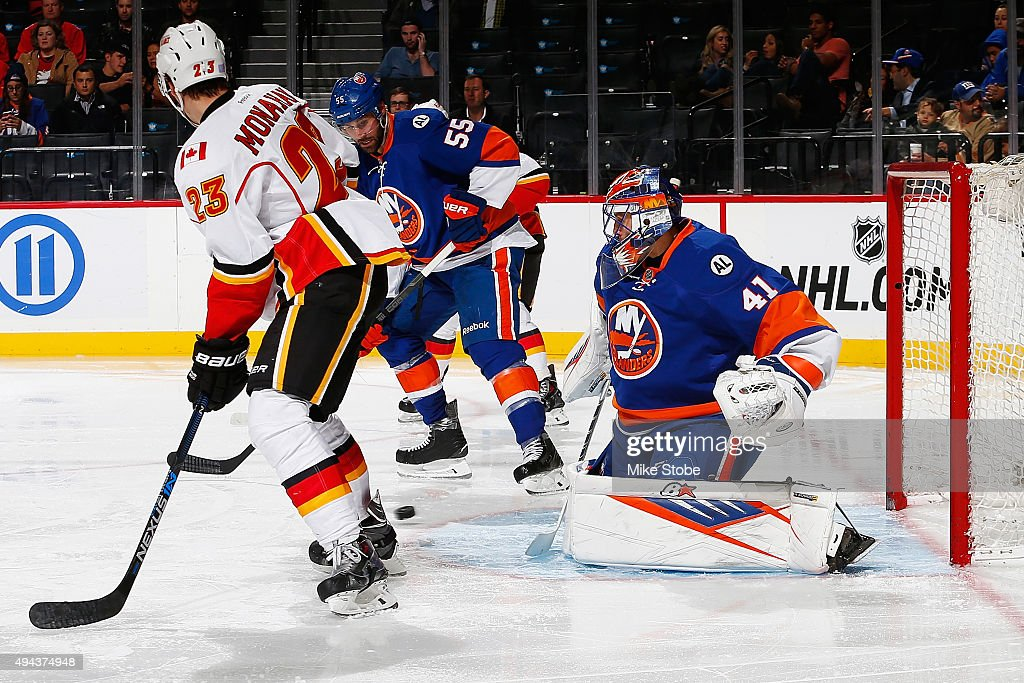 Jaroslav Halak #41 of the New York Islanders makes a save during the game against the Calgary Flames at the Barclays Center on October 26, 2015 in Brooklyn borough of New York City. The Islanders defeated the Flames 4-0.