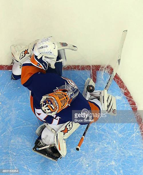 Jaroslav Halak of the New York Islanders makes the second period save against the Edmonton Oilers at the Nassau Veterans Memorial Coliseum on...