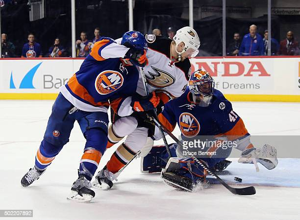 Jaroslav Halak of the New York Islanders makes the third period save on Jiri Sekac of the Anaheim Ducks at the Barclays Center on December 21 2015 in...