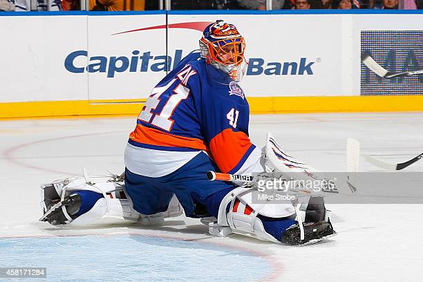 Jaroslav Halak of the New York Islanders skates against the Toronto Maple Leafs at Nassau Veterans Memorial Coliseum on October 21 2014 in Uniondale...