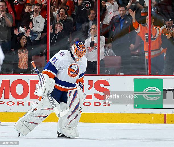 Jaroslav Halak of the New York Islanders skates off the ice after the loss to the Philadelphia Flyers on April 7 2015 at the Wells Fargo Center in...