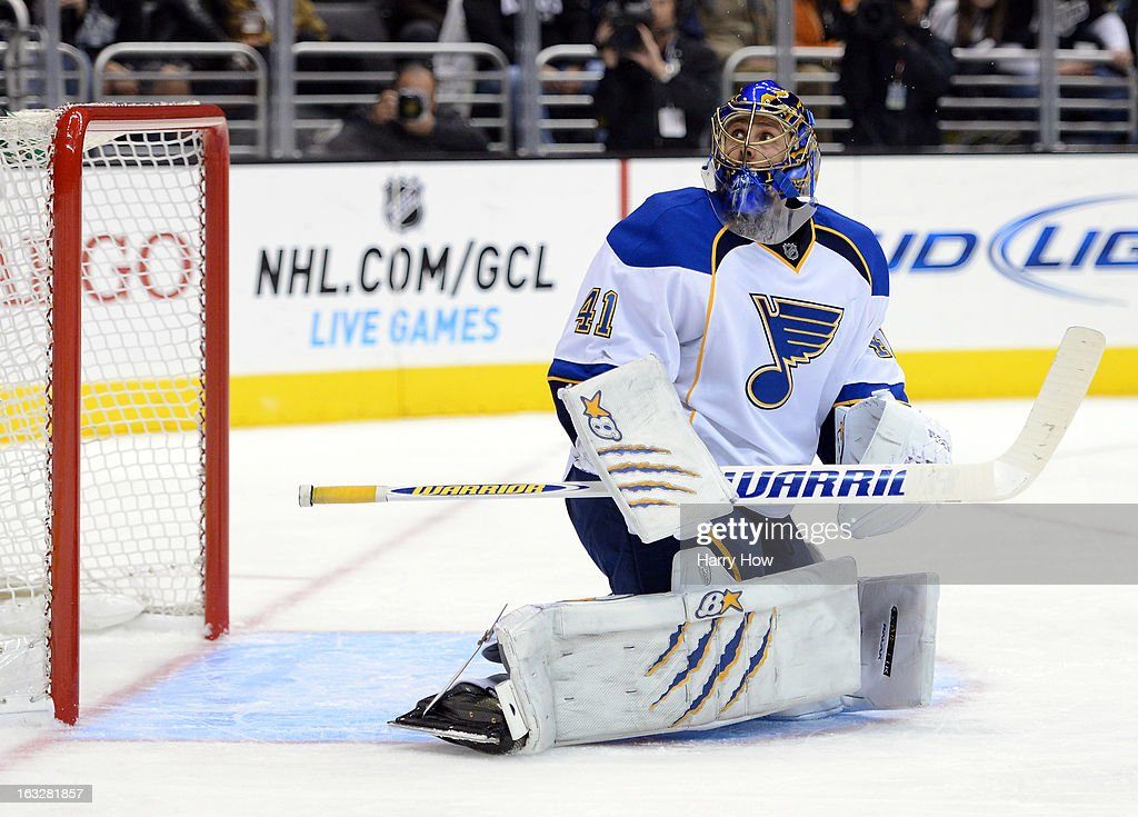 Jaroslav Halak #41 of the St. Louis Blues reacts to a shot during the game against the Los Angeles Kings at Staples Center on March 5, 2013 in Los Angeles, California.