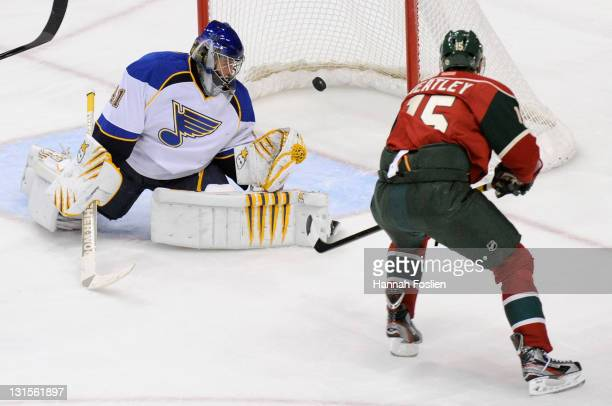 Jaroslav Halak of the St Louis Blues watches the shot by Dany Heatley of the Minnesota Wild get past him in the second period on November 5 2011 at...